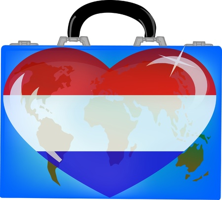 vector illustration a suitcase with globe and heart holland on a white background  Vector