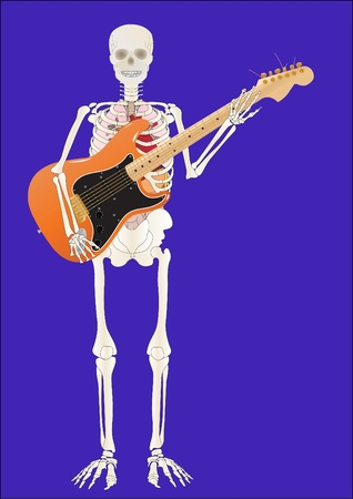 Vector a skeleton of the person with a guitar in hands Vector