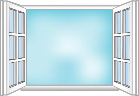 Vector illustratie van een venster en de hemel