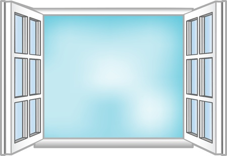 open windows: Vector illustration a window and the sky Illustration