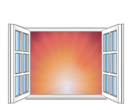 Vector illustration a window and rising Vector