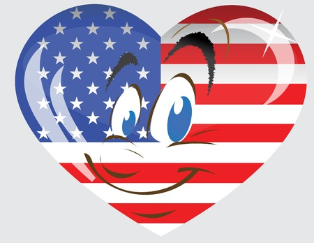 Vector heart with the person and a flag of America