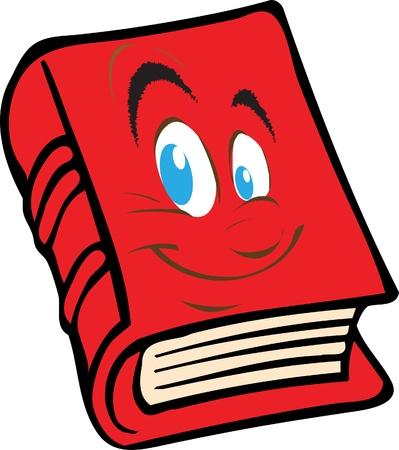 Rode boek met het gezicht Vector Illustratie