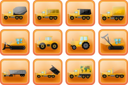 Vector icons in the form of buttons with images of trucks and tractors