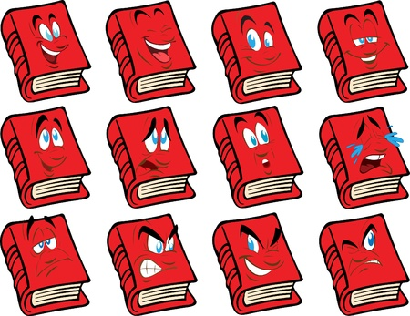 Vector red book with the face Illustration