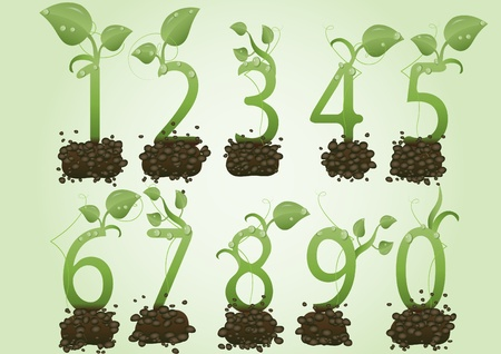 Vector illustration a set of figures in the form of green sprouts on the earth Stock Vector - 9624073