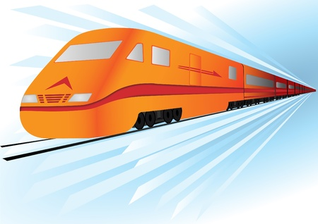 Fast, high speed vector train  Stock Vector - 9624490