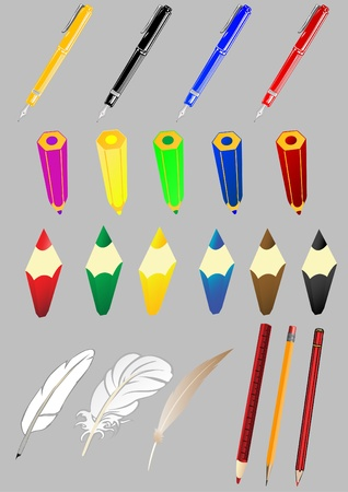 Vector set of subjects of office the pen a pencil a feather Stock Vector - 11860373