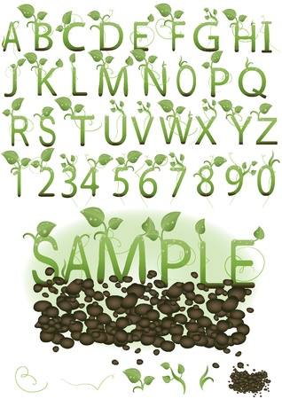 Vector  set illustration a letter in the form of green sprouts on the earth  Иллюстрация