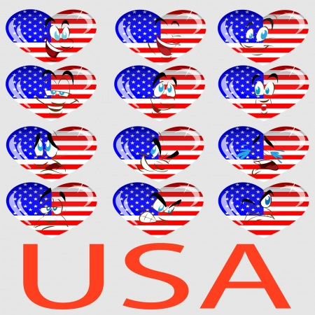 mimicry: a set of hearts with a flag USA and persons Illustration
