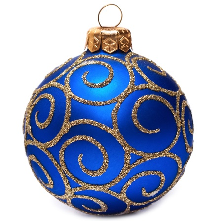 Classic Christmas ball Happy New Year bauble holiday decoration colored blue and golden  Beautiful shiny Merry Xmas symbol Isolated on white background