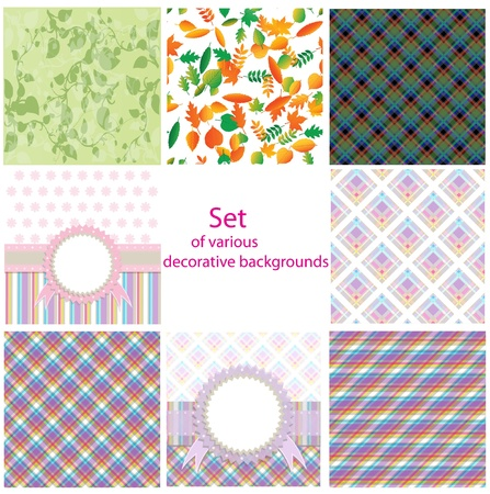 Set of various decorative backgrounds Illustration