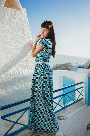 beautyful: beautyful young woman santorin greece