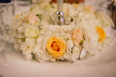 formal dinner party: Decoration wedding flowers location table