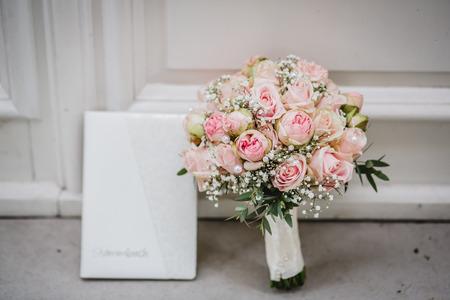 wedding flowers bride bouquet rings Stock Photo