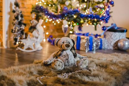 christmas background photostudio lights bokeh