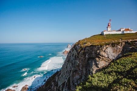famous lighthouse ocean portugal cabo da roca Stock Photo