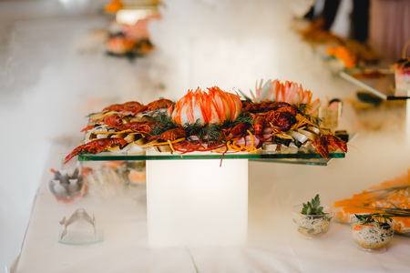 Varieties of foods in a wedding buffet catering