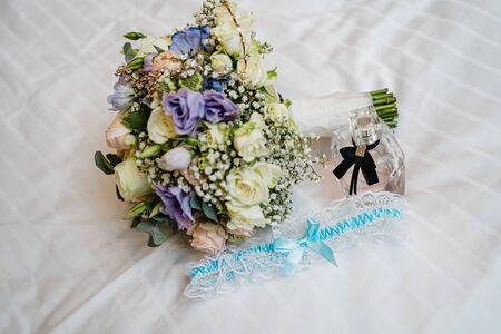 getting ready wedding groom bride  스톡 콘텐츠