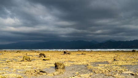 low tide on the beach in Indonesia, dramatic cloudy sky over the shoreline before the rain, soft focus, film noise. Bali seascape and landscape