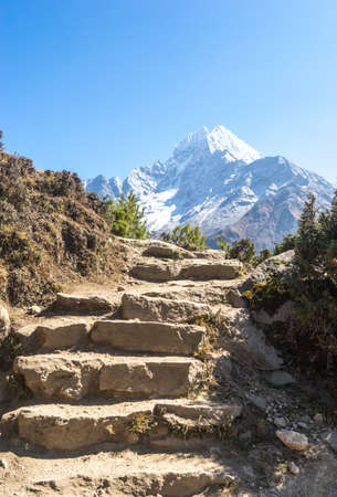 landscape in the Himalayas, Everest Base Camp trek, Ama Dablam peak, trekking in Nepal