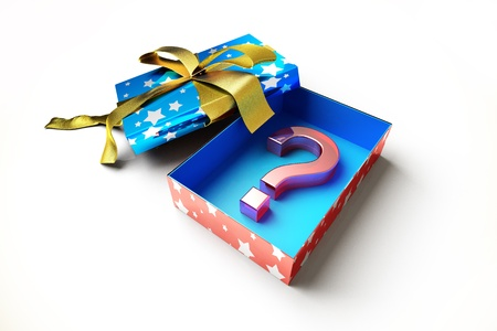 Opened gift box with golden ribbon, with a question mark symbol inside, on white surface. Stock Photo - 11713003