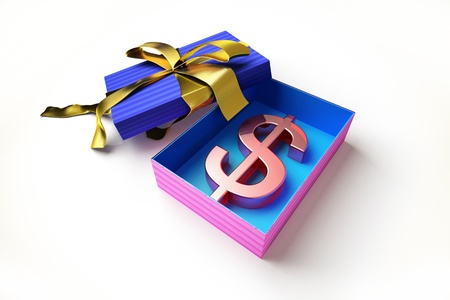 Opened gift box with golden ribbon, with the american dollar symbol inside, on white surface. Stock Photo - 11713000