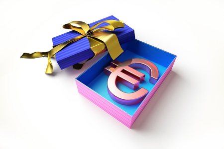 seasonal symbol: Opened gift box with golden ribbon, with the euro symbol inside, on white surface.