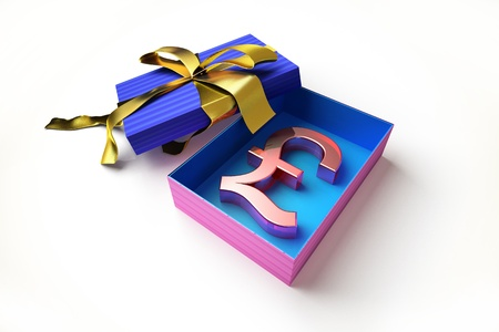 wrapped present: Opened gift box with golden ribbon, with the sterling pound symbol inside, on white surface.