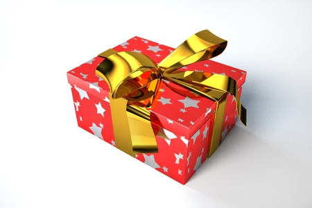 Gift box, red with golden stars and golden ribbon. Stock Photo - 11713004
