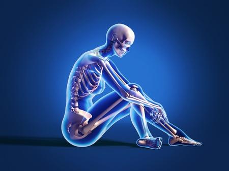 Donna nuda seduta sul pavimento, con scheletro osseo sovrapposto. Su sfondo neutro photo