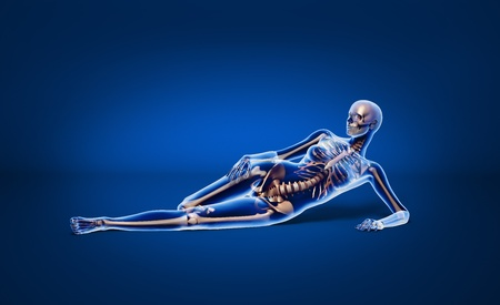 X ray looking, naked woman, laying down on floor, with bone skeleton superimposed, on neutral background photo