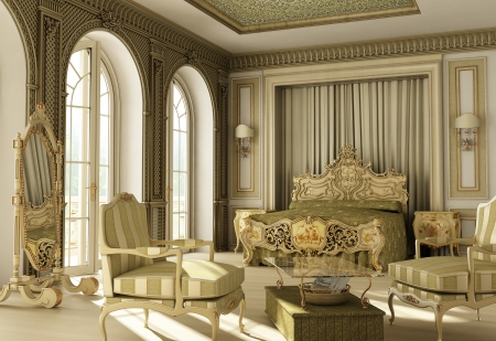 baroque room: 3D rendering of a luxury rococo bedroom with double window on balcony.