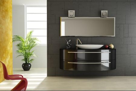 salle de bains: Vue salle de bains moderne, avec une chaise rouge au premier plan et d'une usine et une fen�tre en arri�re-plan. Banque d'images