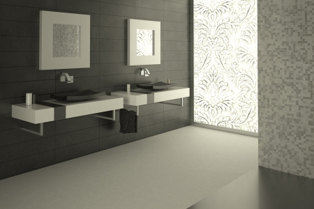 Modern bathroom view with a decorated large glass window in background. Very essential.
