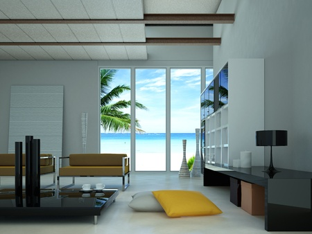 Modern livingroom, with a large window showing a tropical beach with a palm outside.