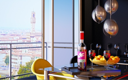 Red wine bottle in a tray with two wine glasses and an open window on Florence panorama. photo