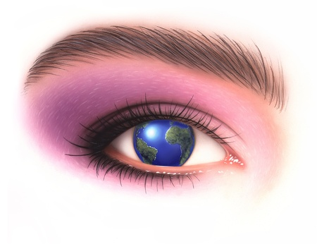 make up eyes: woman eye with earth in place of the iris