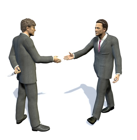 misleading: two men going to shake their hands, one of them is hiding a long knife behind his back