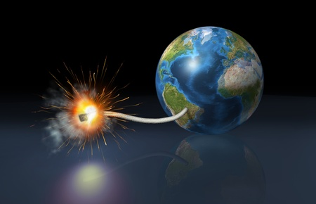 wmd: earth globe with a fuse lighted up as it is a bomb Stock Photo