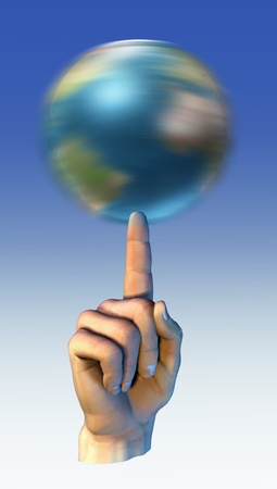 earth globe spinning over a finger stock photo picture and royalty