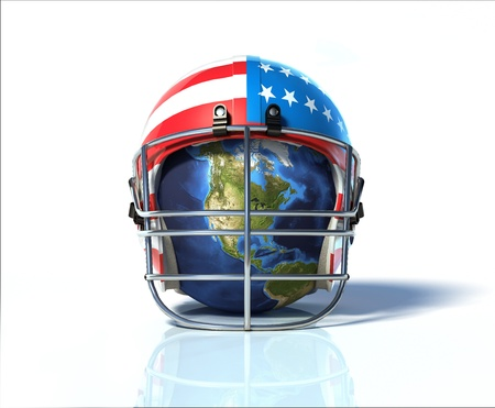 face guard: Planet Earth protected by an American football helmet, painted with stars and stripes. On white surface and background, with clipping path included.