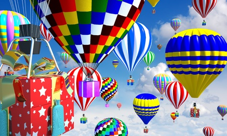 hot-air balloons in the sky, with gifts in place of the basket Stock Photo - 11779826
