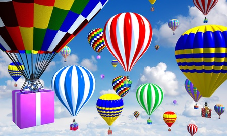 hot-air balloons in the sky, with gifts in place of the basket photo