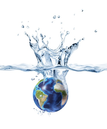 purity: Planet Earth, falling into clear water, forming a crown splash. Stock Photo