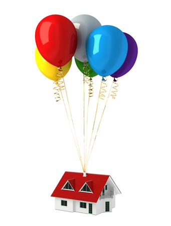 Group of multicolor balloons, lifting up a house. On white background, with clipping path. photo