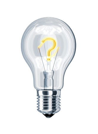 d mark: Light bulb with question mark at the place of incandescence. On white background, with clipping path. Stock Photo