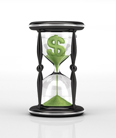 tempo: Hour glass and green falling sand with the shape of the U.S. Dollar.