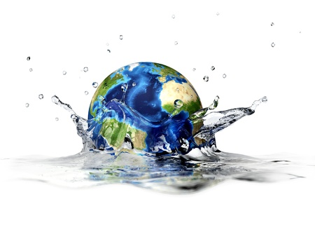 Planet Earth, falling into clear water, forming a crown splash. With depth of field. 3 D digital rendering on white background. photo