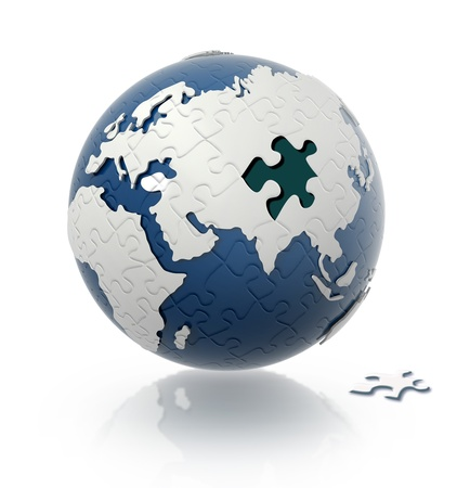 Earth globe with puzzle pattern and one piece on the floor. Stock Photo - 11779888